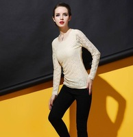2014 autumn new long sleeve lace shirt women hollow out slim lace tops Wine red/Green/White/Beige