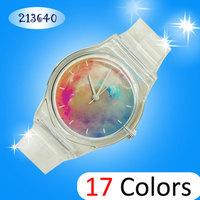 2014 new Romantic galaxy Jelly Silicone Transparent Plastic Women Quartz Windmill Watches 8 style children cute watch