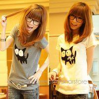 2015 Summer Women Print Short Sleeve T-Shirt, Cute Cartoon Cat Print Round Neck Elegant T Shirt  for Girls Y60*E3131#S7
