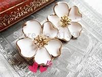 New arrival Fashion Enamel Arabian Jasmine Flower Stud Earrings Jewerly Free Shipping 15PAIRS/LOT