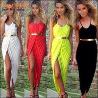 New 2015 Summer Women Neon Asymmetry Slit Beach Dress Ladies Black,White,Red Party Evening Maxi Dresses Sexy Club Vest Dress