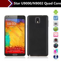 Star Ulefone U9000 N9002 Note3 Scale 1:1 MTK6589 Quad Core 5.7 Inch Android 4.3 1G RAM  Russian Language Mobile phone Smartphone