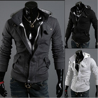 Men's hot warm new brand warm collar hooded jacket coat polyester hoodie with cap