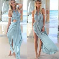Vestido Longo Femininas 2014 New Women Praia Beach Dress Strapless Sexy Bandage Dresses Plus Size Light Blue Party Casual Dress
