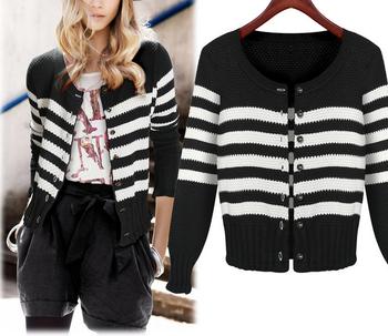 Черно- белый полосатый Повседневная Cardigam Colete Feminino blusa колледж девушка осень зима моды свитер Трикотаж Трикотаж перемычка