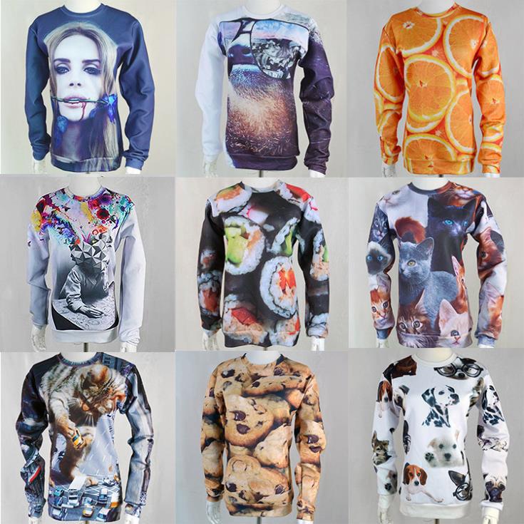 Raisevern new 3D sweatshirt Lana Del Rey/Orange/Lemon/Cookies/Sushi print pullovers men/women high street wear wholesales(China (Mainland))