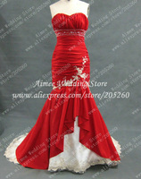 Real Wedding Dress Mermaid Appliques Chinese Red Sweetheart Bridal Gown 2014 Drawstring Custom Vestido De Noiva RA004