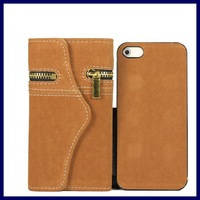 luxury soft feel detachable flip cover zipper phone wallet case for iphone 5 5S S leather purse bags cases for iphone5S iPhone5