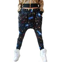 Stars Sky Women Casual Hip-hop Harem Pant Big Crotch Tie-dye Sweat Pants Trouser