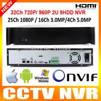 2U Housing Onvif 36CH 960P/720P or 25CH 1920*1080P or 8CH 3mp or 4CH 5mp H.264 Standalone 36CH NVR Recorder 3G/WIFI P2P Cloud