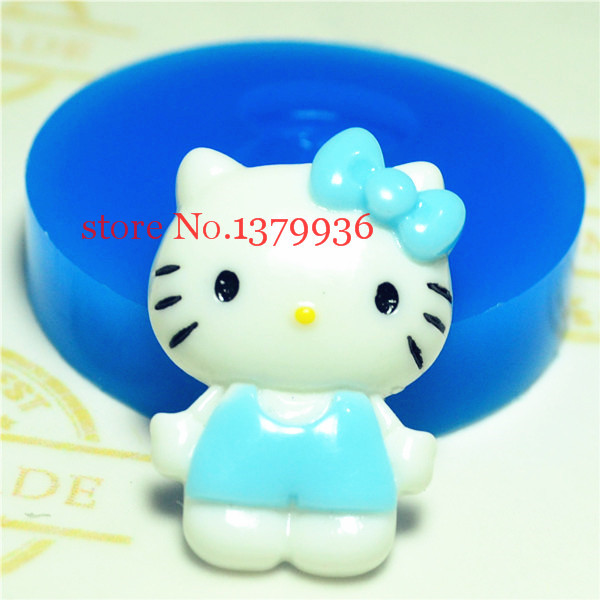 Free shipping P041YL Lovely Hello kitty Push Silicone Mold for Porcelain Jewelry, Polymer Clay, Cake Decoration, Baking Tools(China (Mainland))