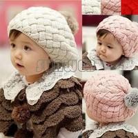 Drop/Free Shipping 1 2014 New Autumn Winter Baby Hat Softer wool Bonnet Style Kid Crochet Cap Lovely Infant's Headwear b14 5400