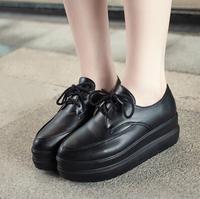 2014 Autumn New Vintage Flat Creepers Platform Shoes Women Fashion Lace Up Black White Harajuku PU Casual Punk Wedge Shoes