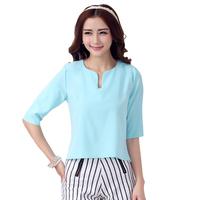 2014 Fashion Korean Summer Chiffon Blouse V-neck Shirts Loose Short Blusas Casual Tops Women Blouses Plus Size Shirts XXL 512