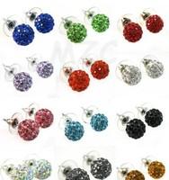 micro pave disco ball mixed 10mm Beautiful Fashion Crystal Disco Ball Beads Silver Plated drop Shamballa Earrings Mix lot
