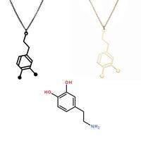 Free Shipping 2014 New Hot Selling Gold and Black Love Hormone Dopamine Serotonin Molecule Pendant Necklace