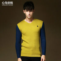 offer!!2014 New V-neck men cloths man sweaters  for autumn and winter warm more color M-2XL size(MY0017)