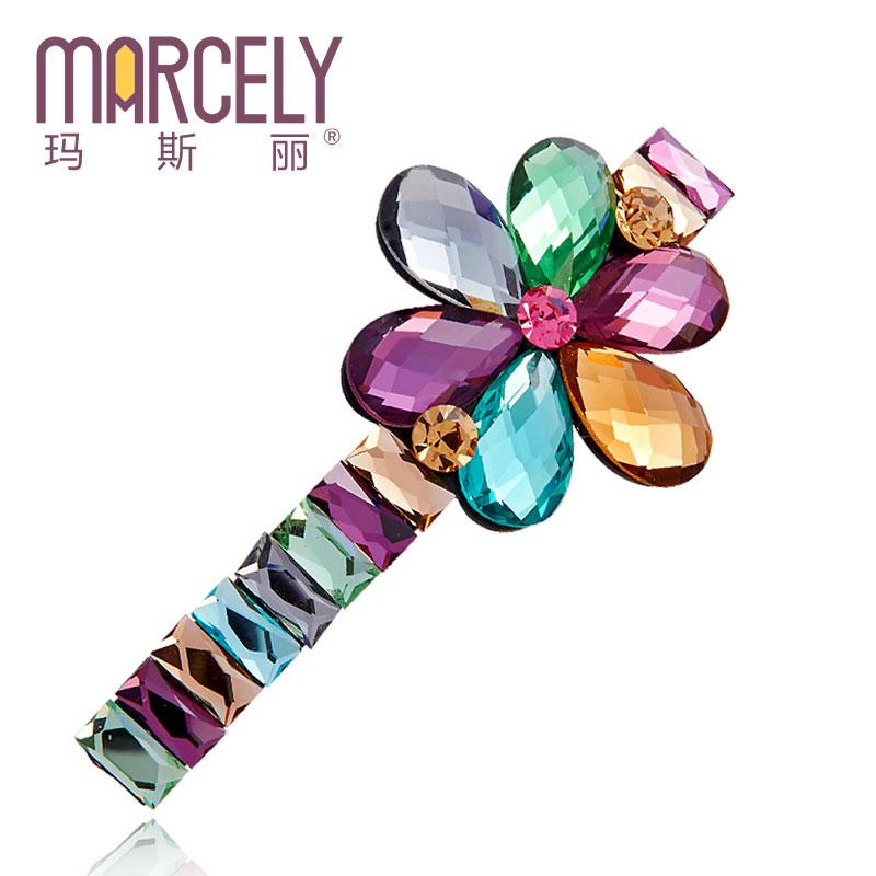 [free shipping] 2014 spring clip folder level rhinestone bangs clip hair pin hairpin hair accessory flower hair accessory(China (Mainland))