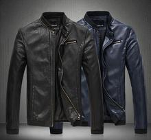 Men Slim Fit PU Leather Jacket Stand Collar Plus Size M-5XL Oblique Zipper Jacket Coat Brand Design Fashion Casual Jacket F1812(China (Mainland))