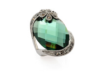 Vintage Glass Crystal Ring Micro Black Gem Stone  Rings Wedding Jewelry  Accessories For  Women