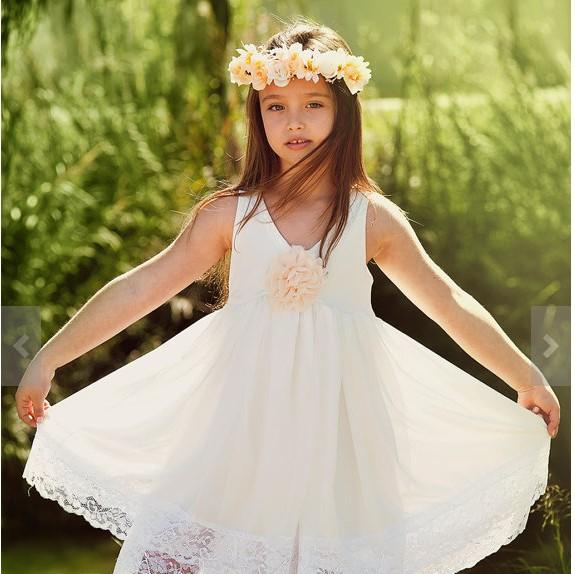 Lace Flower Girl Dresses For Beach Wedding Children Party Dresses