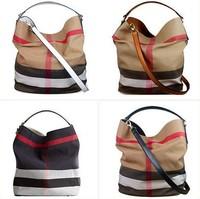 100% Genuine Leather Handbag Vintage Plaid Canvas Shoulder Bags Women Leather Handbags Messenger Bag Crossbody Bags for Women B1