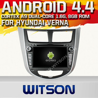 WITSON Android OS 4.4.4 Capacitive screen car dvd navigation for HYUNDAI VERNA Built in 8GB Flash 1G DDR3 RAM Memory +Gift