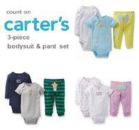 3pcs Set, Original Carter's Baby Boys and Girls Sleeve bodysuit Pants,Carters Bebe Clothing Sets,Newborn-24M