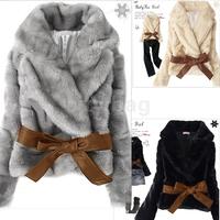 Hot Sale Korea Fashion Faux Fur Rabbit Hair Lady Warm Coat Jacket Fluffy Short Outwear Belted New Black/Gray/Apricot