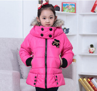 IN Stock!    hot  sell  4 colors girls winter new children bear jacket and long sections free shipping for 3-12Y