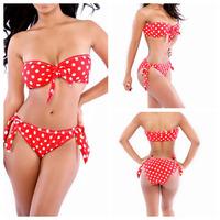 Biquini 2014 Sexy Bandage Swimsuit Red Women's Fashion Triangle Swimwear Bikinis Push Up Swimsuit Set Vintage Bikini Set