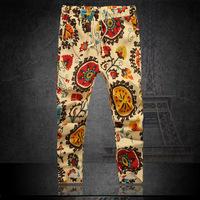Length 85cm - 88cm 2014 new casual men pants mens Harem Pants men's trousers floral print ankle length capri pants 6XL 5XL 4xl m