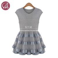 New 2014 Women's Knitted Stretch Organza Stitching Tutu Dress Ladies Sleeveless Vest Princess Fashion Dress
