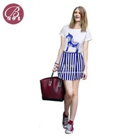 Free Shipping Women 2014 New Fashion 3D Trojans Short Sleeve T shirt +High Waist Striped Skirt 2pcs Summer Suit