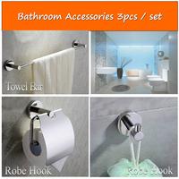 Factory direct sales SUS304 material bathroom accessories bath hardware set(3pcs /set towel bar.paper holder. robe hook)