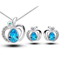 Heart shaped silver jewelry set, Tz-1317