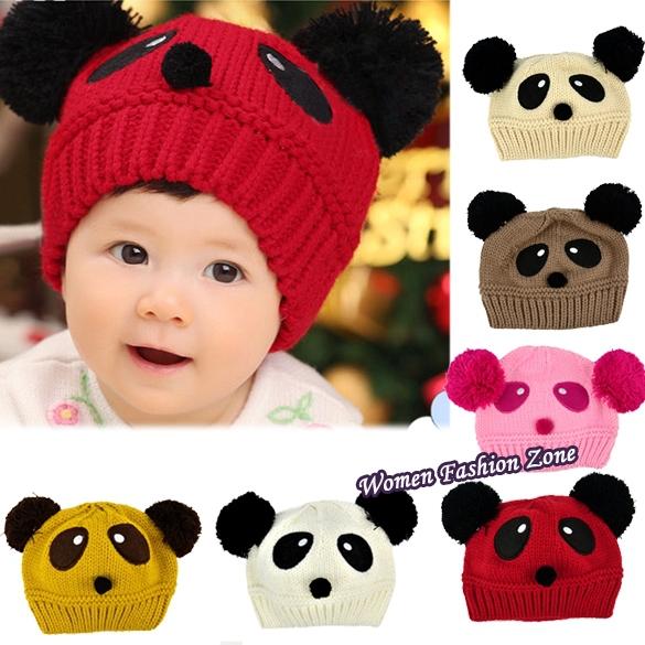 Toddler Girls Boys Knitting Cap Cartoon Loverly Panda Crochet Beanies Hat Wool Knit Hat Baby Kids Newborn Winter Outfits 8189(China (Mainland))