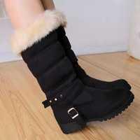 Big size 34-43 Snow Boots Punk Rivets Buckle Shoes Women Fashion Half Knee High Boots Low Heels Winter Warm Fur Shoes