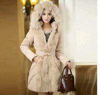 winter coat women New 2014 jacket thicken Large luxurious fur collars  long women duck down jacket  parka jaqueta feminina