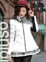 New 2014 jacket winter coat thicken Slim female raccoon  Lotus leaf collar women parka winter coat