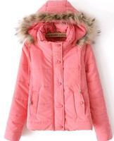 New 2014 winter coat women thicken warm padded cotton jacket fur hooded  women Down & Parkas casacos femininos outdoor
