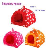 Genuine Wholesale 1PCS   Pet Dog Cat Bed Houses pet yurt tent Lovery Warm Doggy Kennel size S 28*28*30cm 3Colors