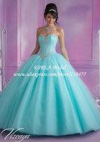 New Arrival Crystal Corset Sweetheart Organza Aqua Quinceanera Dresses Ball Gowns MQ088 Sweet 16 Dresses