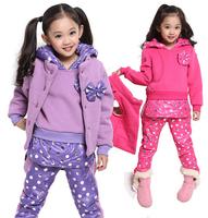 2014 winter fashion children girls hoodies suit long sleeve thick fleece casual sports suit kids bow warm sweatshirt 3pcs set