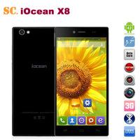 100% Original iOcean X8 MTK6592 Octa Core Mobile Phone 5.7'' IPS Gorilla Glass 1080p 2GB RAM 32GB ROM Android 4.2 Dual SIM WCDMA