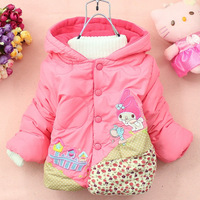 2014 Hot winter baby girl jacket small house baby girl clothes cartoon baby winter coat children's outerwear DZ33