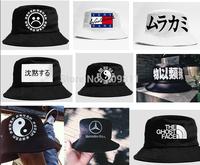 outdoor women flat fishing caps hip hop men Chinese letters Bucket Hats