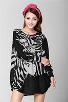 2015 Spring New Fashion Plus Size 18 color Print Animal Leopard Flower Pattern Sweater Dress Female Novelty Autumn Winter Dress