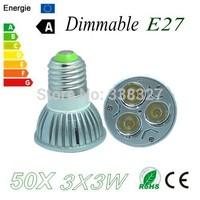 50X  Dimmable High Power  E27 3X3W 9W LED Bulb Downlight Lamp Spotlight LED Lighting Free shipping!