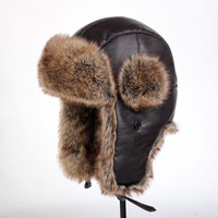 High-quality Faux Leather and High-quality Faux Fur brown thickening warm russian hat men/women cap with free shipping
